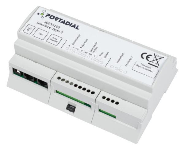 Interface 3 voor deurtelefonie van Portadial met 1 drukknop